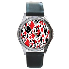 Distorted Diamonds In Black & Red Round Leather Watch (silver Rim)