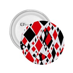 Distorted Diamonds In Black & Red 2 25  Button