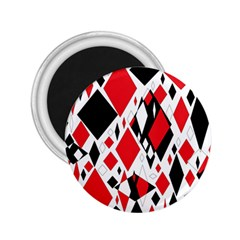 Distorted Diamonds In Black & Red 2 25  Button Magnet