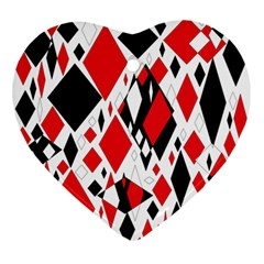 Distorted Diamonds In Black & Red Heart Ornament