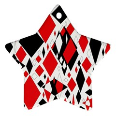Distorted Diamonds In Black & Red Star Ornament
