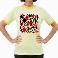 Distorted Diamonds In Black & Red Women s Ringer T-shirt (Colored)