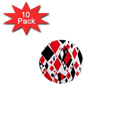 Distorted Diamonds In Black & Red 1  Mini Button Magnet (10 Pack)