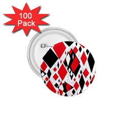 Distorted Diamonds In Black & Red 1 75  Button (100 Pack)