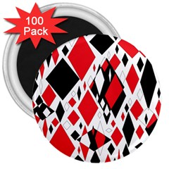 Distorted Diamonds In Black & Red 3  Button Magnet (100 pack)