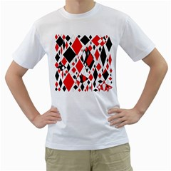 Distorted Diamonds In Black & Red Men s Two-sided T-shirt (White)