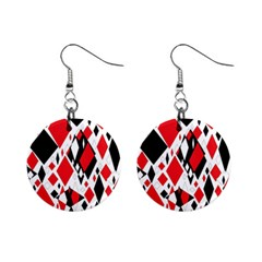 Distorted Diamonds In Black & Red Mini Button Earrings