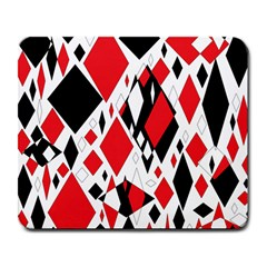 Distorted Diamonds In Black & Red Large Mouse Pad (rectangle)