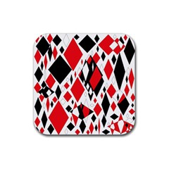 Distorted Diamonds In Black & Red Drink Coaster (square)