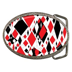 Distorted Diamonds In Black & Red Belt Buckle (Oval)