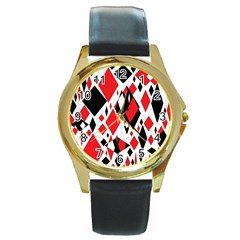 Distorted Diamonds In Black & Red Round Leather Watch (Gold Rim)
