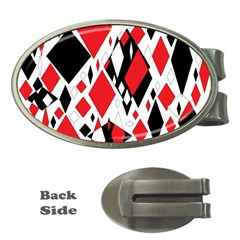 Distorted Diamonds In Black & Red Money Clip (oval)