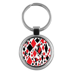 Distorted Diamonds In Black & Red Key Chain (round)