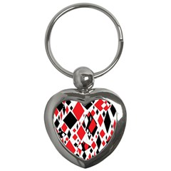 Distorted Diamonds In Black & Red Key Chain (Heart)