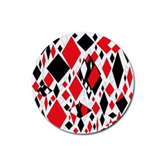 Distorted Diamonds In Black & Red Drink Coasters 4 Pack (round)