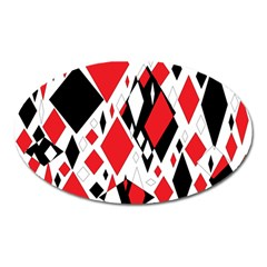 Distorted Diamonds In Black & Red Magnet (oval)