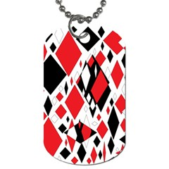 Distorted Diamonds In Black & Red Dog Tag (one Sided)