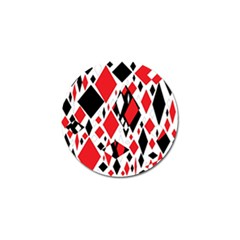 Distorted Diamonds In Black & Red Golf Ball Marker 10 Pack