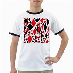 Distorted Diamonds In Black & Red Men s Ringer T-shirt