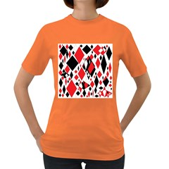 Distorted Diamonds In Black & Red Women s T Shirt (colored)