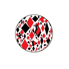 Distorted Diamonds In Black & Red Golf Ball Marker (for Hat Clip)