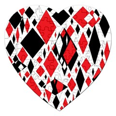 Distorted Diamonds In Black & Red Jigsaw Puzzle (Heart)