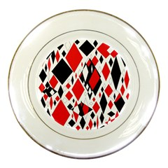 Distorted Diamonds In Black & Red Porcelain Display Plate
