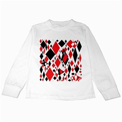 Distorted Diamonds In Black & Red Kids Long Sleeve T-Shirt