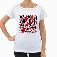 Distorted Diamonds In Black & Red Women s Loose-Fit T-Shirt (White)