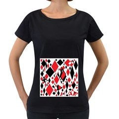 Distorted Diamonds In Black & Red Women s Loose-Fit T-Shirt (Black)