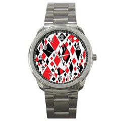 Distorted Diamonds In Black & Red Sport Metal Watch