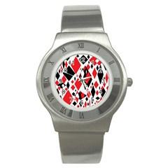 Distorted Diamonds In Black & Red Stainless Steel Watch (slim)
