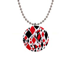 Distorted Diamonds In Black & Red Button Necklace