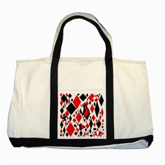 Distorted Diamonds In Black & Red Two Toned Tote Bag