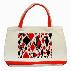 Distorted Diamonds In Black & Red Classic Tote Bag (Red)