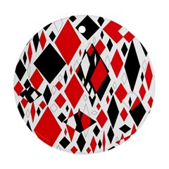 Distorted Diamonds In Black & Red Round Ornament (two Sides)