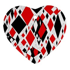 Distorted Diamonds In Black & Red Heart Ornament (Two Sides)