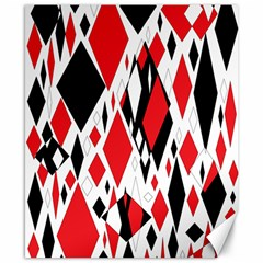 Distorted Diamonds In Black & Red Canvas 8  x 10  (Unframed)