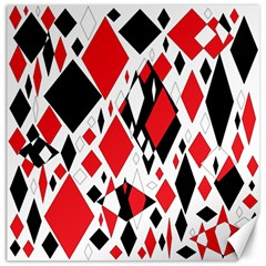 Distorted Diamonds In Black & Red Canvas 12  X 12  (unframed)