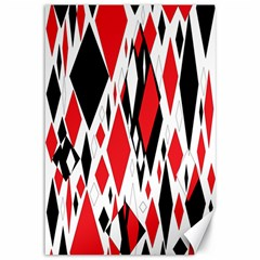 Distorted Diamonds In Black & Red Canvas 12  x 18  (Unframed)
