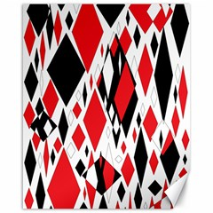 Distorted Diamonds In Black & Red Canvas 16  x 20  (Unframed)