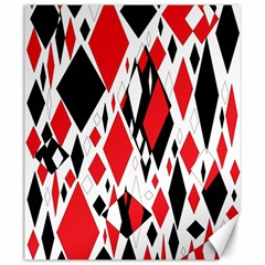 Distorted Diamonds In Black & Red Canvas 20  X 24  (unframed)