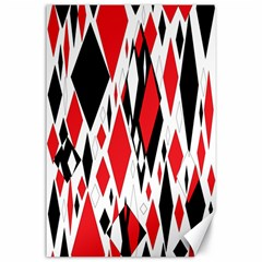 Distorted Diamonds In Black & Red Canvas 24  x 36  (Unframed)