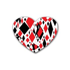 Distorted Diamonds In Black & Red Drink Coasters (Heart)