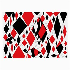 Distorted Diamonds In Black & Red Glasses Cloth (large, Two Sided)