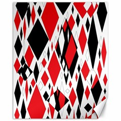 Distorted Diamonds In Black & Red Canvas 11  x 14  (Unframed)