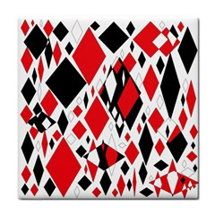 Distorted Diamonds In Black & Red Face Towel