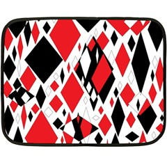 Distorted Diamonds In Black & Red Mini Fleece Blanket (two Sided)