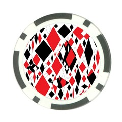 Distorted Diamonds In Black & Red Poker Chip (10 Pack)