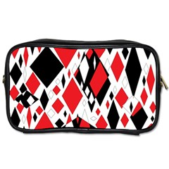 Distorted Diamonds In Black & Red Travel Toiletry Bag (one Side)